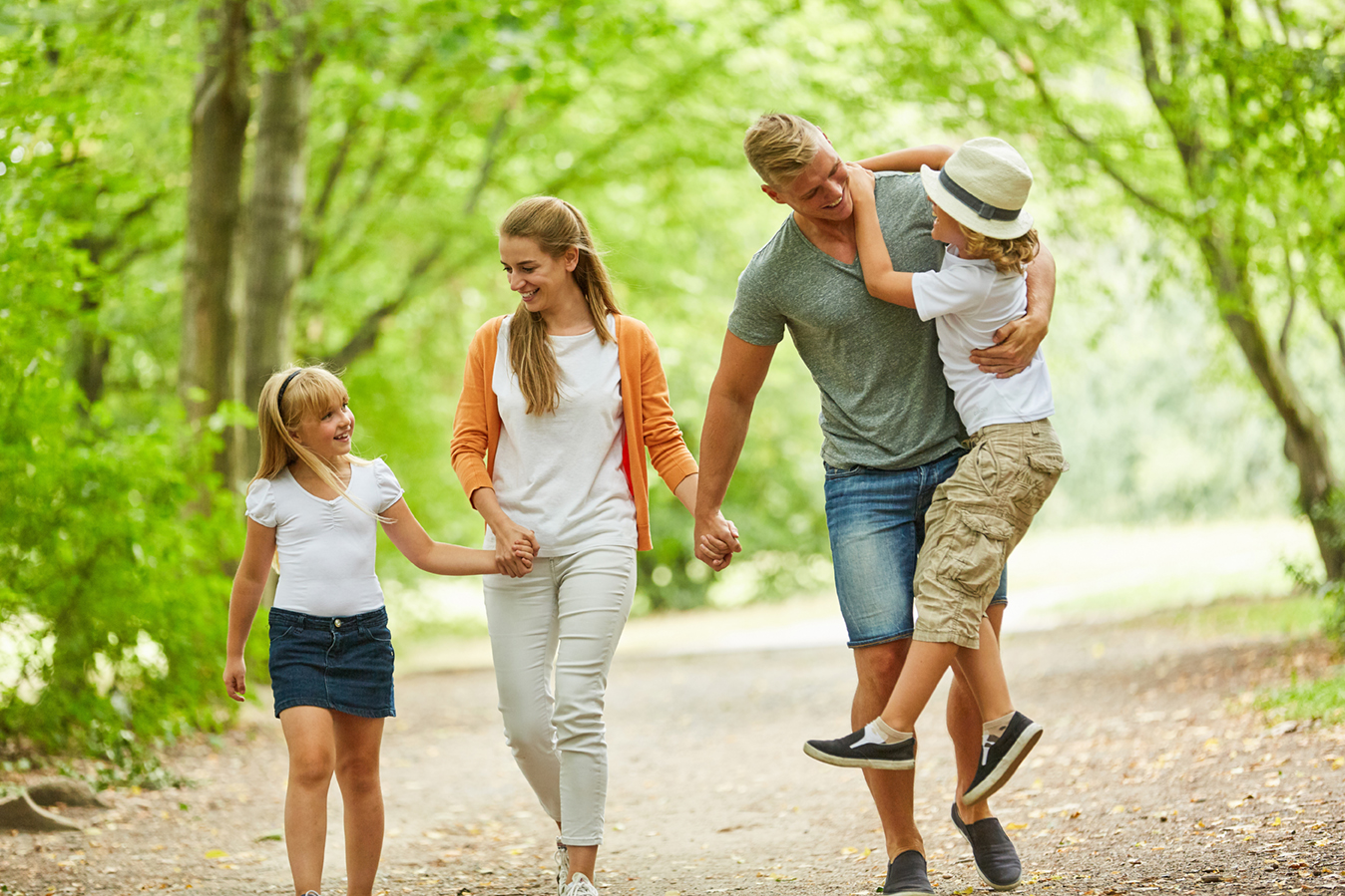 Family taking a walk in nature